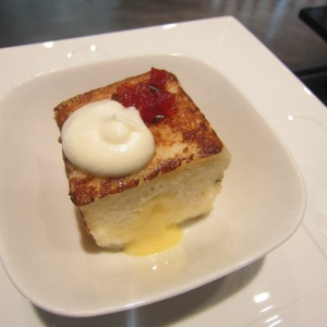 Nobu French Toast with Yuzu Custard, Yuzu Whipped Cream, and Tomato Jam