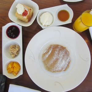 Soba (Buckwheat) Pancake with Miso Butter and Yuzu Whipped Cream