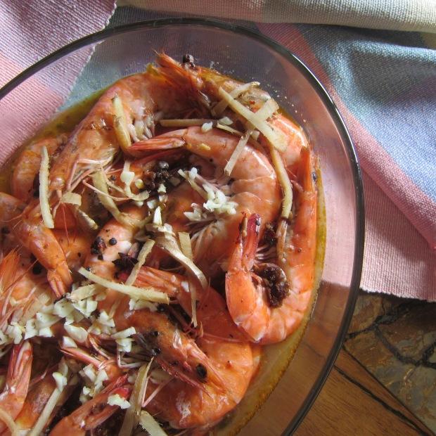 Steamed Chili Garlic Butter Shrimps