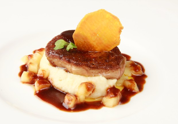 2. Pan Seared Duck Foie Gras on Celeriac Mousseline&Calvado