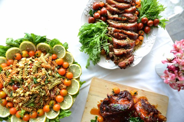 Crispy Roast Pork Stuffed with Chestnut Herbs, Homemade Honey-Glazed Ham with Pink Peppercorn, and Italian Salad Pasta
