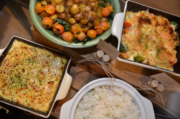 Herb-Roasted Marble Potato, Mixed Vegetable Casserole, Steamed Jasmine Rice, and Potato Gratin