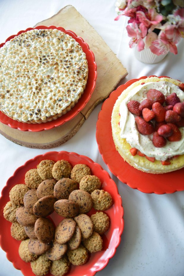 Sweet Potato Pecan Pie, Strawberry Shortcake, Chocolate Chip and Oatmeal Raisin Cookies