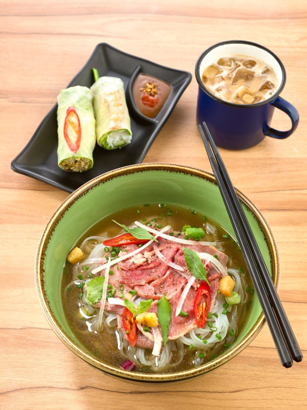 Lunch set - fresh hand rolls, pho beef steak, iced Viet coffee.jpg