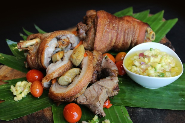 MNL Main dish - Boneless Crispy Pata Stuffed with Foie Gras and Topped with Pineapple Salsa.jpg