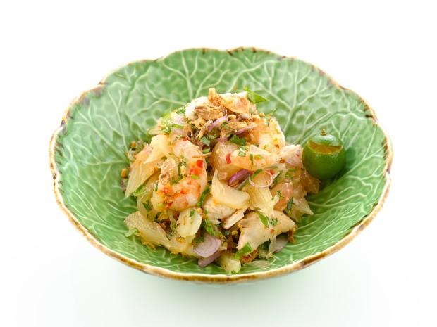 Small plates - Pomelo salad, prawns, chicken, fresh herbs, peanuts.jpg.jpg