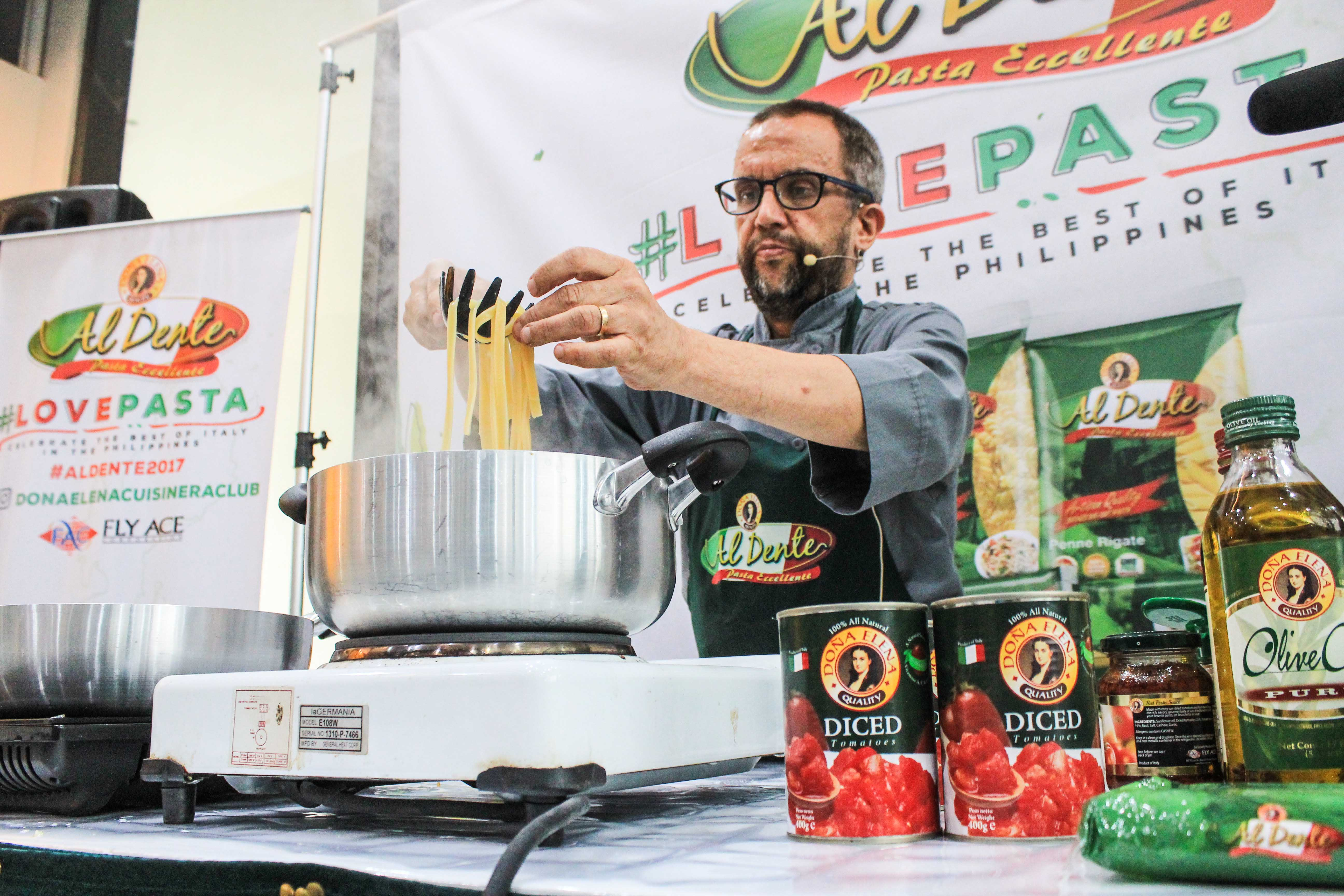 Chef Chris Locher demonstrates perfectly al dente Italian dishes using Doña Elena products.jpg