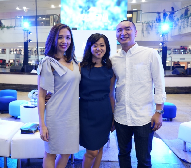 Aquafina Brand Team (L-R) Gutzee Segura- Acting Brand Manager for Aquafina, Melai Lazaro-Javier, Brand Manager for Aquafina, Mikey Rosales- Marketing Director for Food & Beverages at Pepsi Co..JPG
