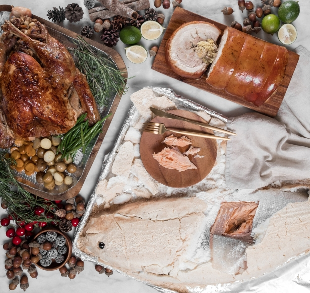 Cravings makes holidays merry and bright with these sumptuous selections - Roast Turkey with Chestnut Raisin Stuffing, Crackling Pork Bagnet, and Salt-crusted Fresh Salmo.jpg